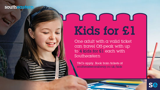 Travel to Canterbury, Herne Bay or Whitstable by train and  kids are just £1