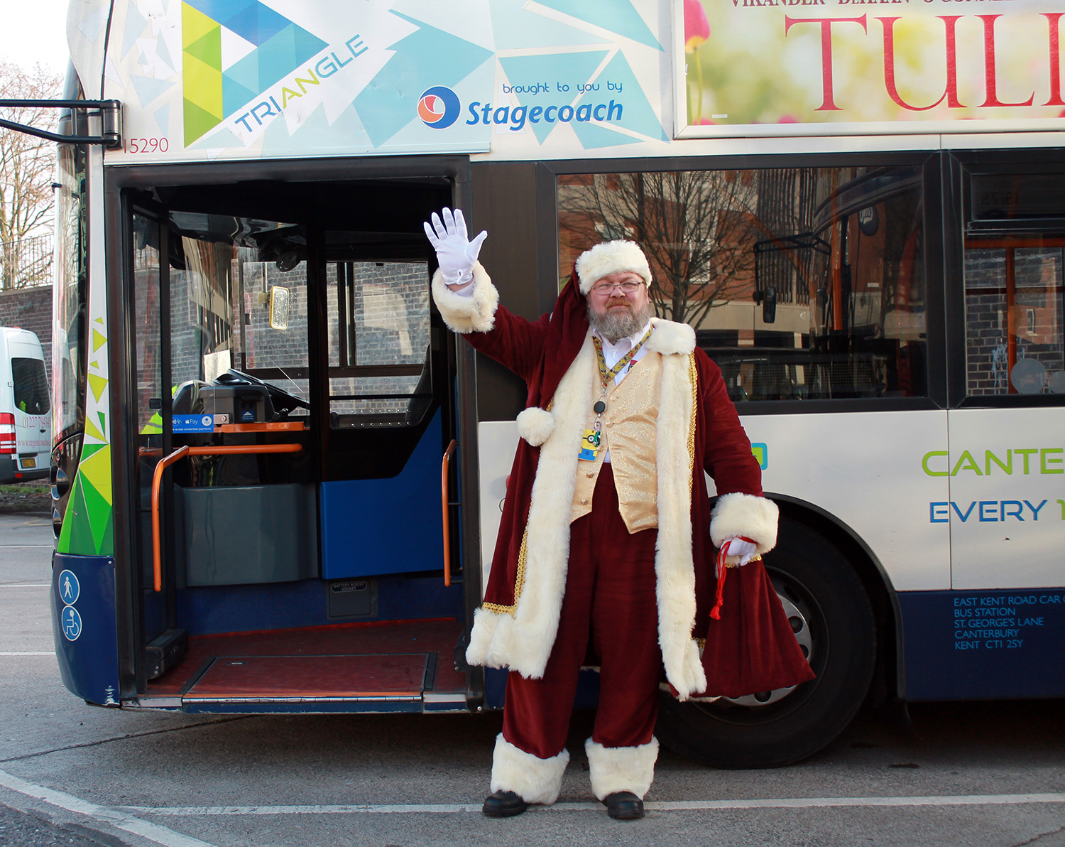 Santa Clowes is coming to town with Stagecoach and the Santa bus
