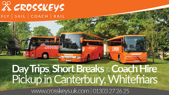 Crosskeys day trips, short breaks and coach hire pickup in Canterbury Whitefriars